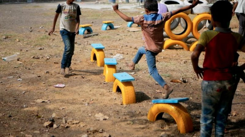 Children playing in a playground