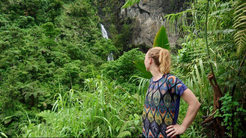 A girl looks at a waterfall in Fiji