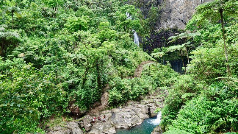 River crossing at waterfall