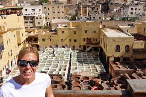 A woman at the tanneries in Morocco