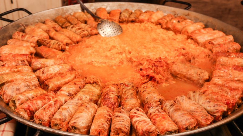 Stuffed cabbage leaves at a Hungarian Christmas market