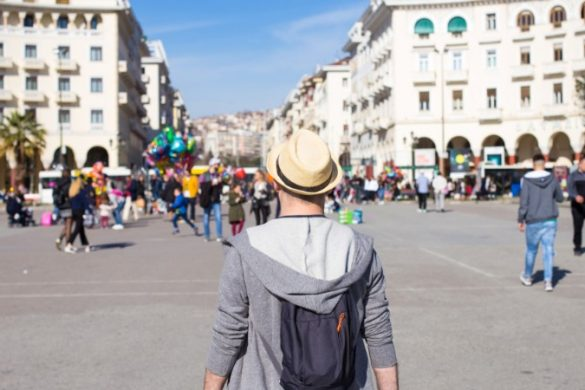 Traveller visiting Aristotelous Square, Thessaloniki