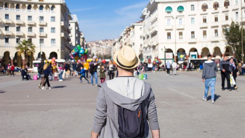 Traveller visiting Aristotelous Square, Thessaloniki