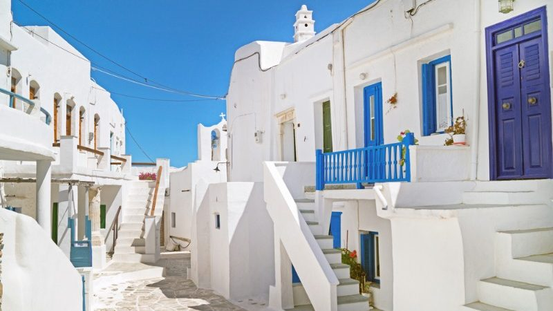 Whitewashed houses with blue doors in Greece