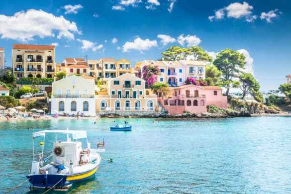Colourful houses on a calm bay
