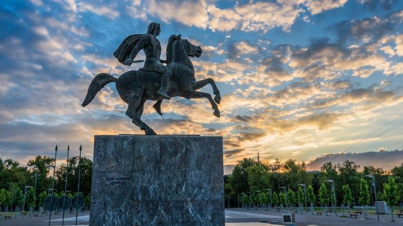 Statue of Alexander the Great at sunrise in Thessaloniki
