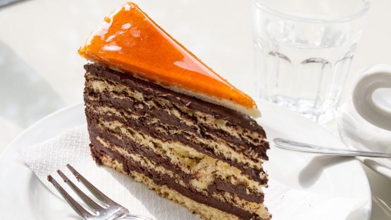 A slice of dobos torte