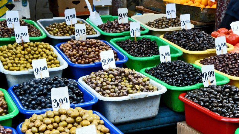 Trays of olives at the market