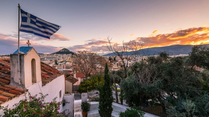 Beautiful buildings in Athens at sunset