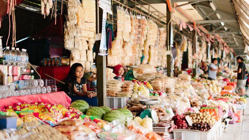 A local market in Borneo.