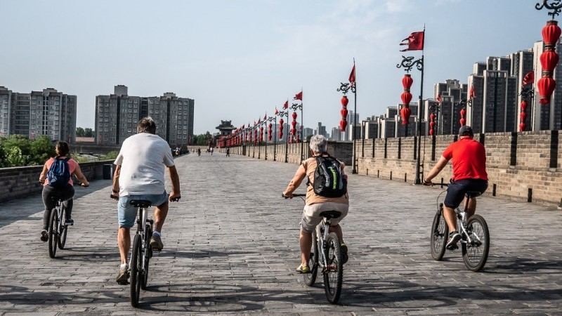 Cycling the city wall of Xi'an in China