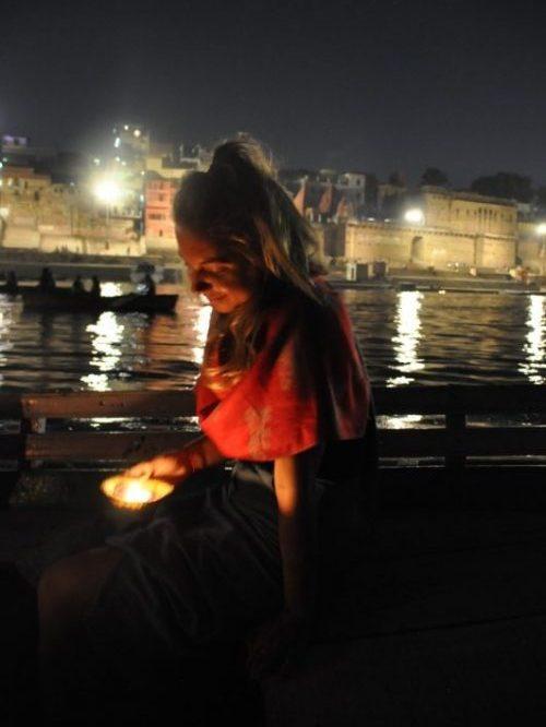 Girl on a boat in Varanasi