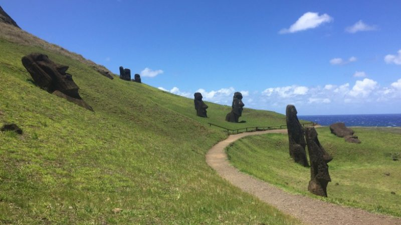 A path through giant stone heads on Easter Island