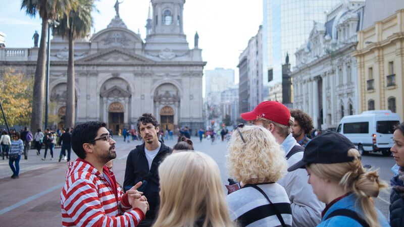 a group of people in Santiago on a walking tour