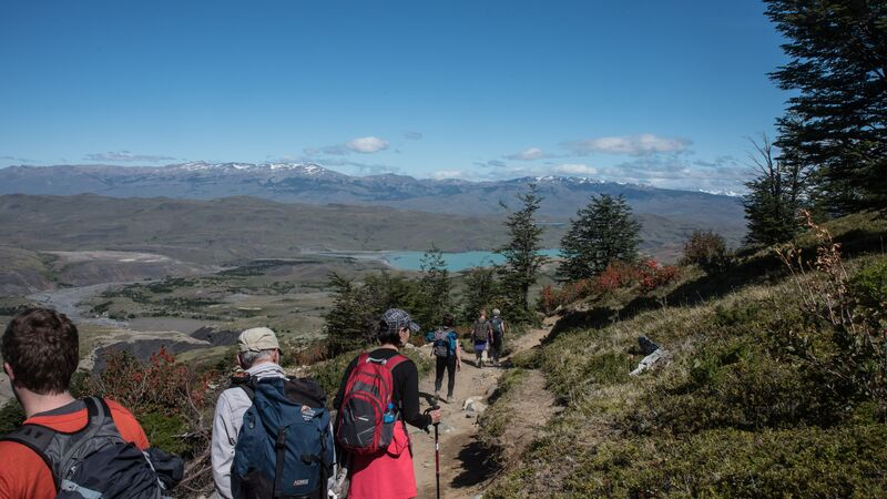 A group of hikers trekking in Patagonia