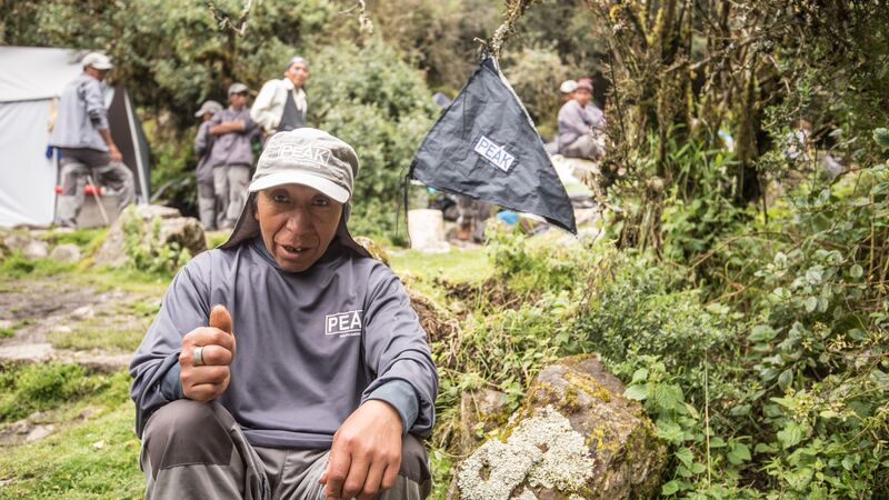A porter on the Inca Trail