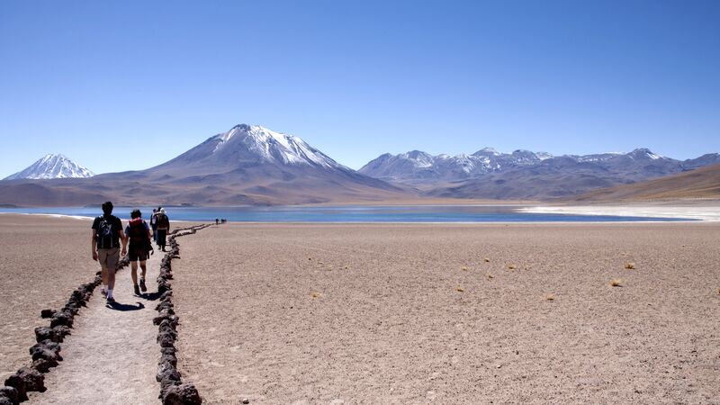 Travellers hiking in San Pedro de Atacama