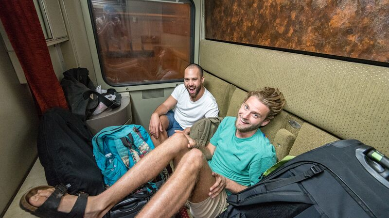 Two travellers on an overnight train in Egypt