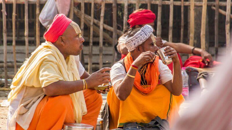 Holy men in Varanasi