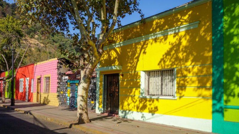 Colourful houses on a city street