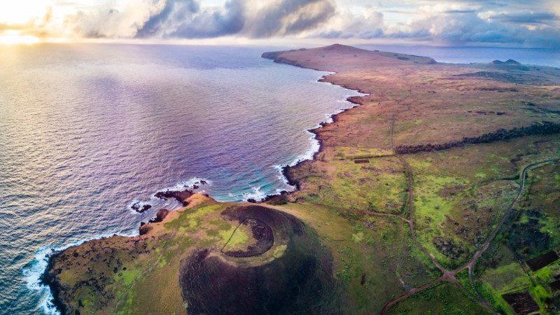 Aerial photo of beautiful Easter Island coastline
