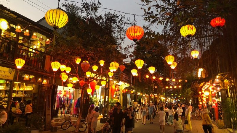 Street covered in lanterns in Hoi An.
