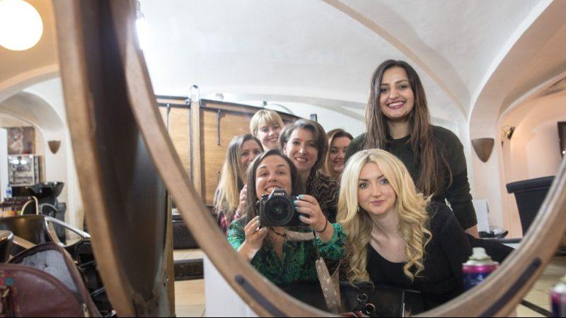 A group of women in a beauty salon