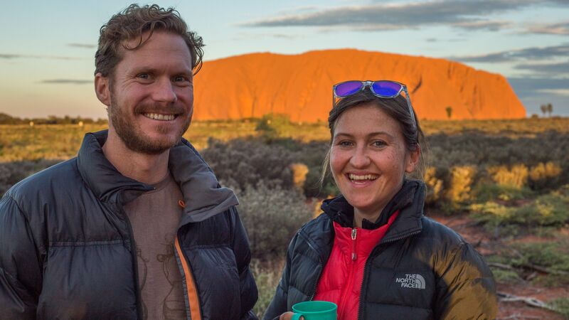 Two travellers at Uluru