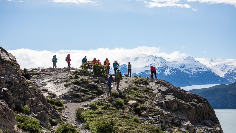 A group of hikers on a trail in Patagonia