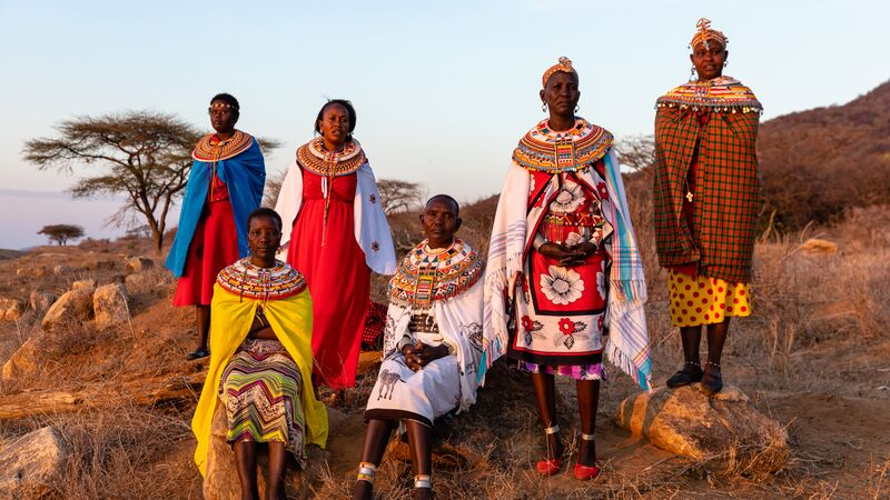 A group of women in traditional costumes in Kenya