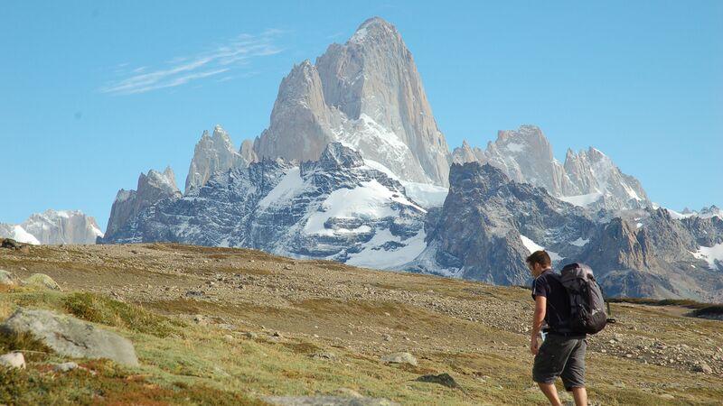 A man walking in Patagonia