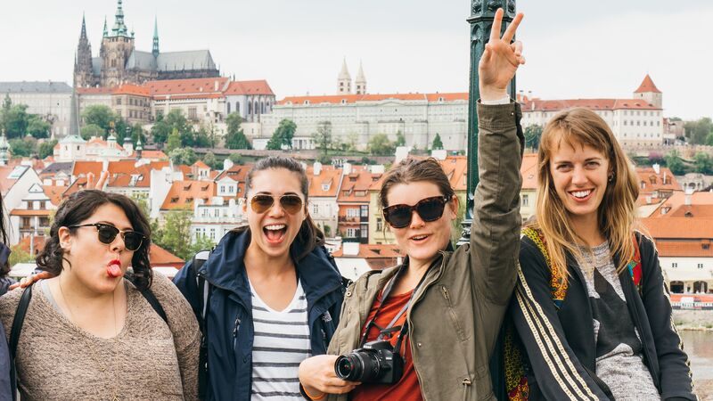 Four travellers in Prague.