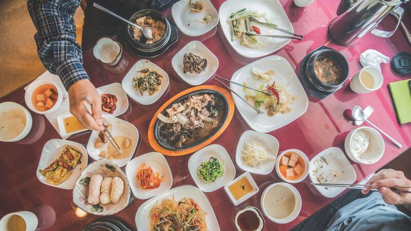 sharing food in Korea
