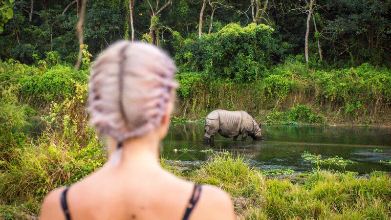 Female traveller looking at Rhino in Chitwan National Park