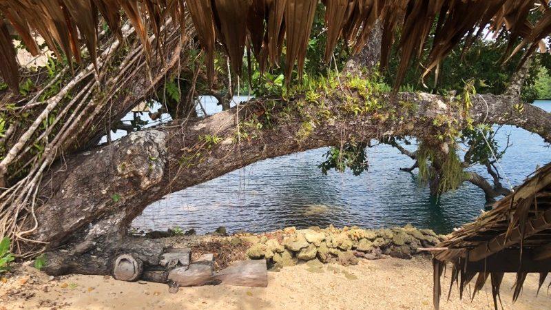 Una vista de arena y agua desde una cabaña de la isla