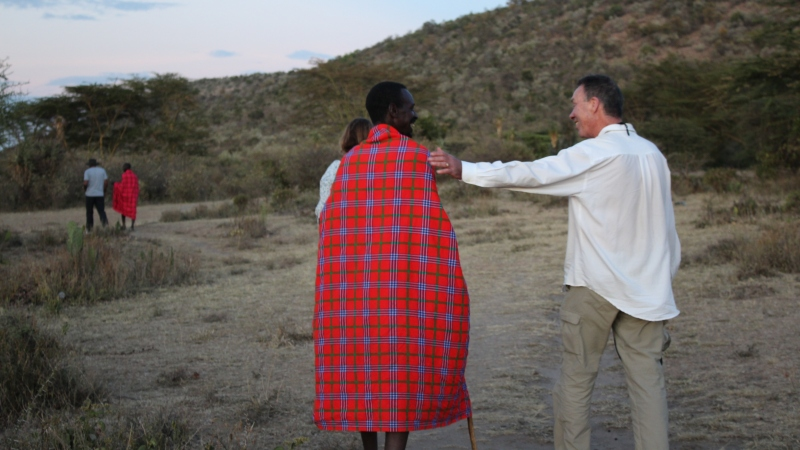 maasai people traveller making friends
