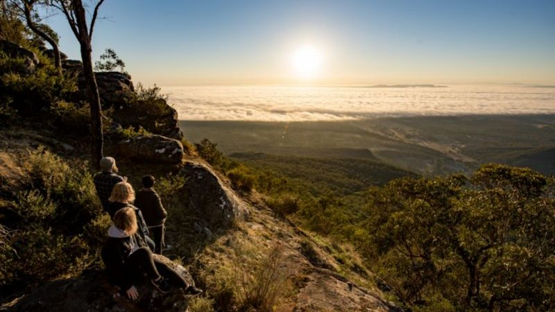 Hikers watching the sunset in the Grampians, Victoria