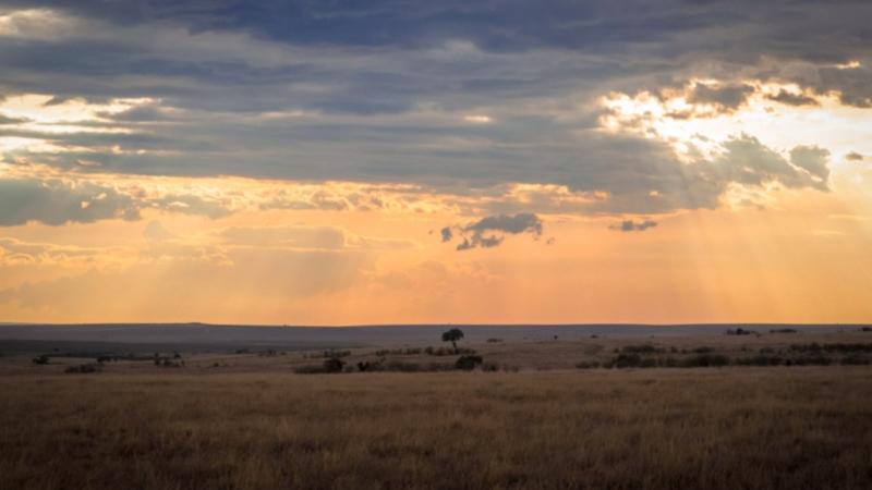 sunset over the masai mara on a Kenya safari