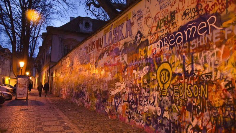 Wall covered in graffiti in the Czech Republic