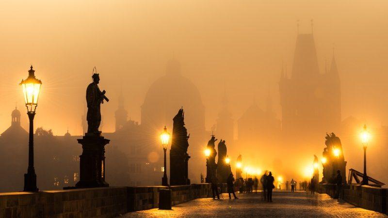 Bridge in Prague at sunrise