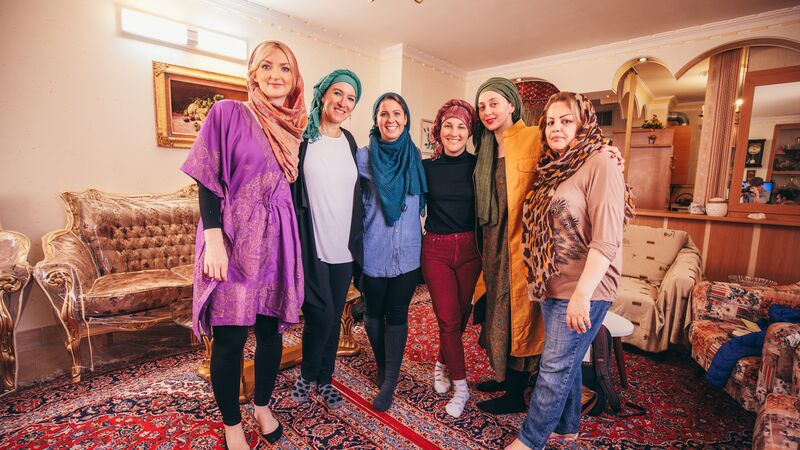 A group of female travellers in Iran