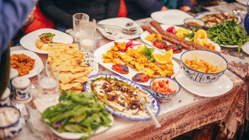 Table covered in Iranian food