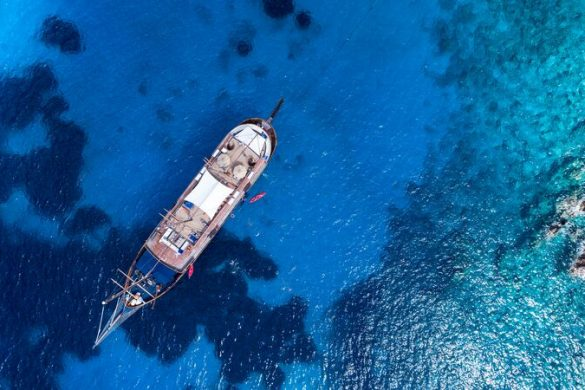Birds-eye-view of a ship in Greece