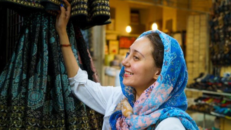 A smiling woman in Iran.