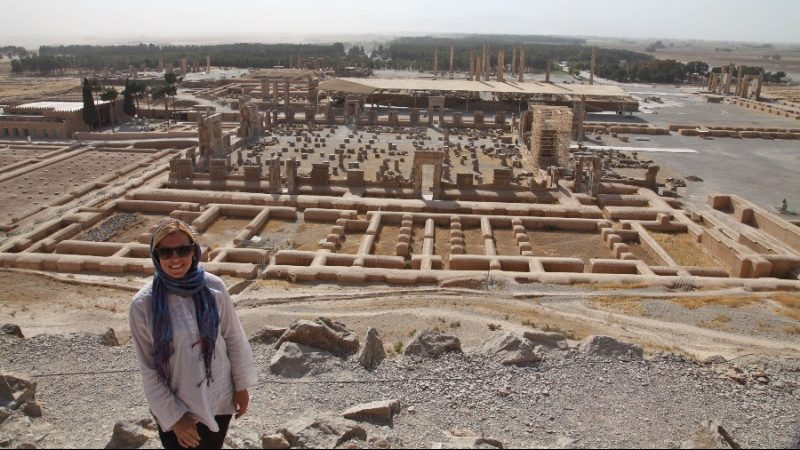 A woman at some ancient ruins in Iran