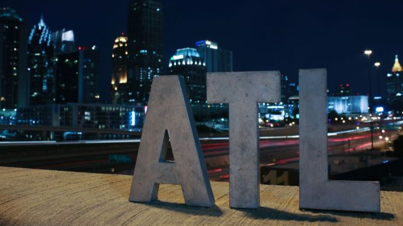ATL sign at night.