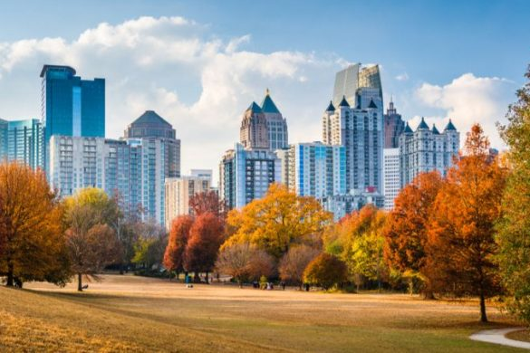 Atlanta, Georgia, USA midtown skyline from Piedmont Park in autumn