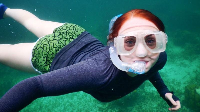 Vanessa snorkelling in Caye Caulker, Belize