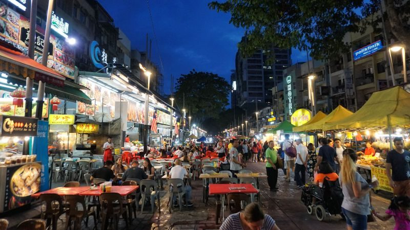 Busy night market selling street food