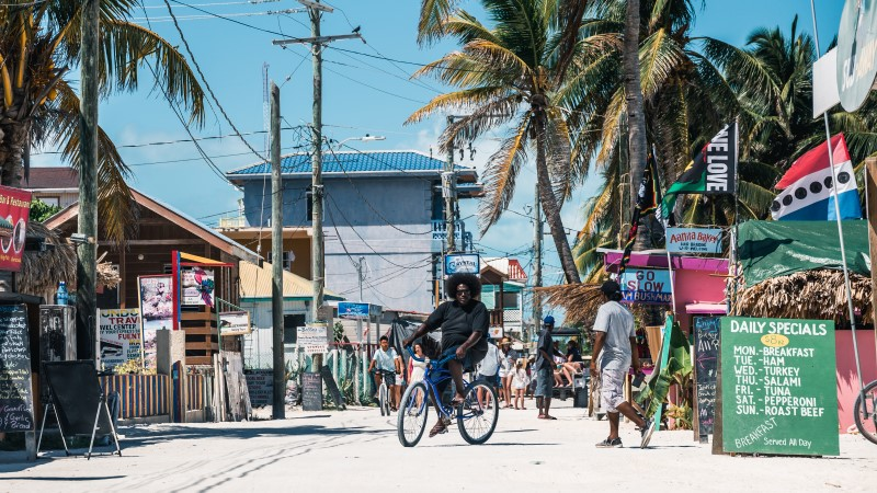 The sandy streets of Caye Caulker, Belize